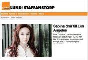 Sabina drar till Los Angeles, Fredrik Magnusson, Lokaltidningen 22/1-14 http://lund.lokaltidningen.se/nyheter/nyheter_lokala/2014-01-22/-Sabina-drar-till-Los-Angeles-224941.html