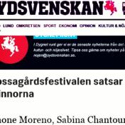 Mossagårdsfestivalen satsar på kvinnorna, Jonas Gillberg, Sydsvenskan, 17/4-15 https://www.sydsvenskan.se/2015-04-17/mossagardsfestivalen-satsar-pa-kvinnorna