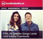 FÖRLAG Sweden Songs i avtal med Sabina Chantouria, Musikindustrin.se, 10/5-16 http://www.musikindustrin.se/2016/05/10/forlag-sweden-songs-i-avtal-med-sabina-chantouria/