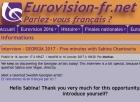 Five minutes with Sabina Chantouria, Eurovision fr.net, 16/1-17 http://eurovision-fr.net/news/lire.php?id=4201