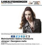 Malmöartisten Sabina Chantouria utmanar i Georgiens mello http://malmo.lokaltidningen.se/nyheter/2017-01-18/-Malmöartisten-Sabina-Chantouria-utmanar-i-Georgiens-mello-340832.html Per Ingridz, Lokaltidningen, 18/1-17