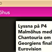 Sabina Chantouria om att tävla i Georgiens final till Eurovision http://p4dela.sverigesradio.se/?id=1531 P4 SR, Malmöhus, 25/1-17