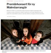 Premiärkonsert för ny Malmöarrangör, Sydsvenskan - https://www.sydsvenskan.se/2017-10-11/premiarkonsert-for-ny-arrangor