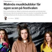 """""""Malmös musikbubblor får egen scen på festivalen"""" Sydsvenskan, Jonas Gillberg, 8/8-2019 https://www.sydsvenskan.se/2019-08-08/malmos-musikbubblor-far-egen-scen-pa-festivalen"""