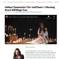 Music Interview Magazine, Paul J Wolfle. Sabina Chantouria's Fire And Flame': A Burning Heart Still Rings True https://musicinterviewmagazine.com/2020/04/03/sabina-chantourias-fire-and-flame-a-burning-heart-still-rings-true/