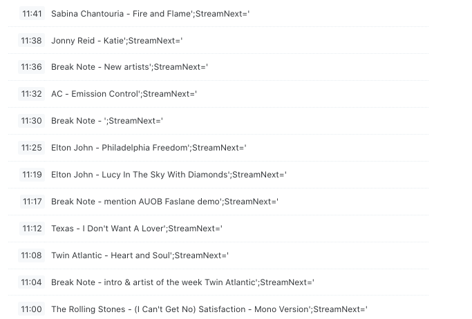 IndyLiveRadio playlist 29-08-21